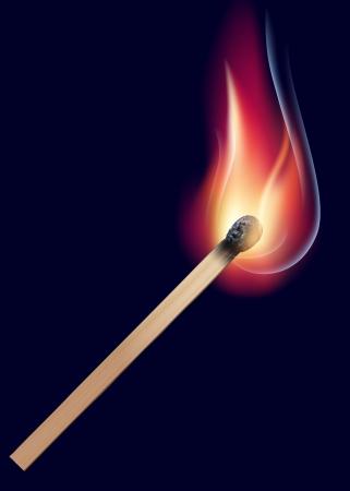 night stick: Burning match on black  Vector illustration Illustration