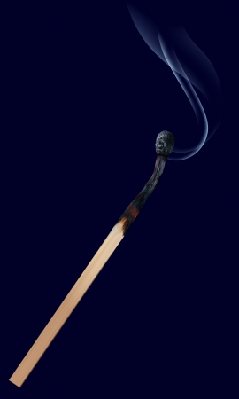 matchstick: Burned match stick on dark  Vector illustration