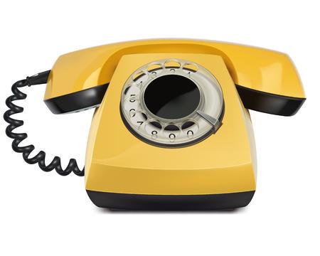 cable telefono: Tel�fono amarillo, vintage, aislado. Ilustraci�n vectorial