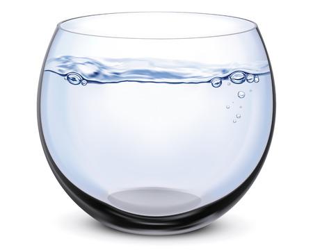 魚のボウルは、白で隔離されます。