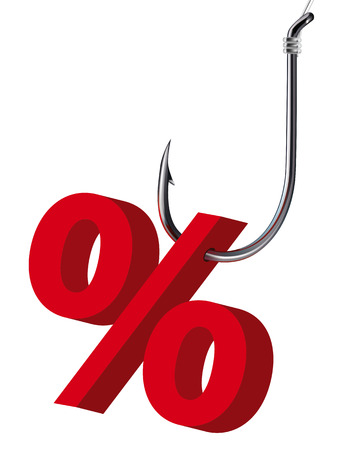 profit and loss: Percent sign on the hook.