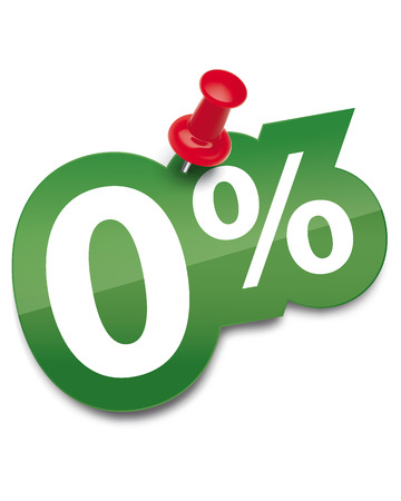 Zero percent sticker fixed by a thumbtack. Vector illustration Vector