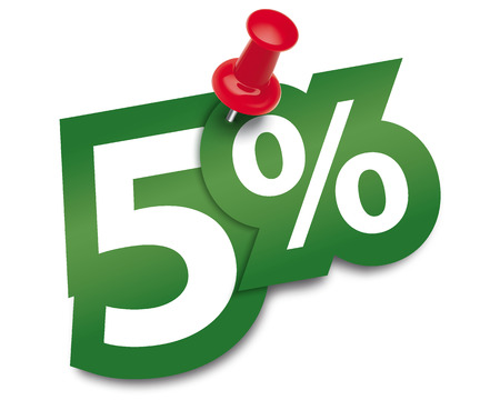 Five percent sticker fixed by a thumbtack. Vector illustration Vectores