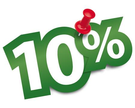Ten percent sticker fixed by a thumbtack. Vector illustration