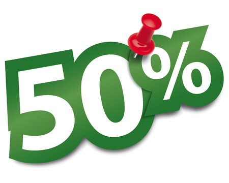 Fifty percent sticker fixed by a thumbtack. Vector illustration