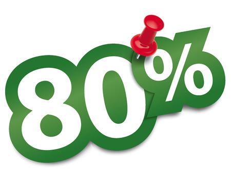ochenta: El ochenta por ciento pegatina fijado por una chincheta. Ilustraci�n vectorial