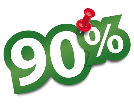 ninety: Ninety percent sticker fixed by a thumbtack. Vector illustration