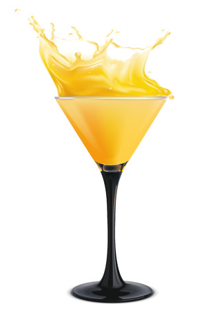 Orange cocktail with splashes. Vector illustration Vector