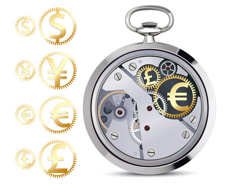 workings: Stopwatch works with coins. Vector illustration
