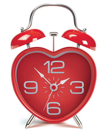Heart shaped alarm clock on white. Vector illustration