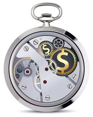 Stopwatch works with coins signs. Illustration illustration