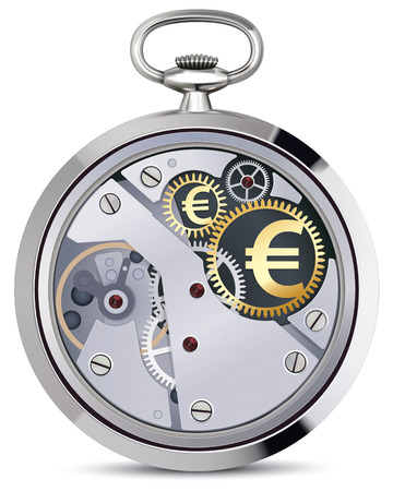 workings: Stopwatch works with coins signs. Illustration Stock Photo