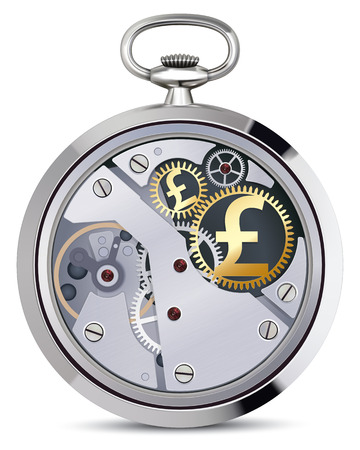 pound coin: Stopwatch works with coins signs. Illustration Stock Photo