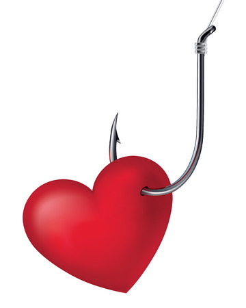 fishing catches: Heart on the hook. Vector illustration Illustration
