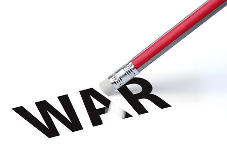 erasing: Pencil erasing the word WAR