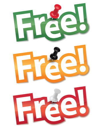 bage: Sticker set Free fixed by a thumbtack. Vector illustration Illustration