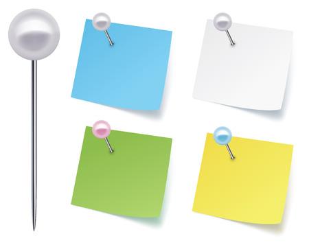 pushpins: Pasadores con papel ilustraci�n vectorial