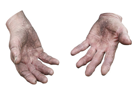 Dirty hands of a woman  Clipping path photo