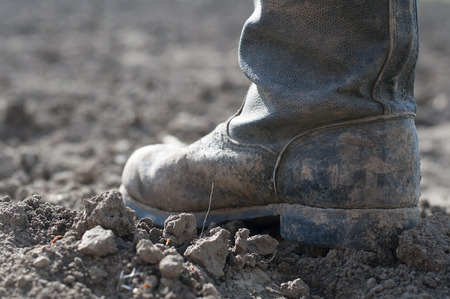 work boots: Boots on dry earth. Stock Photo