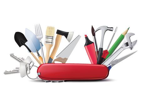 Zwitserse universeel mes met gereedschap. Alles in een. Creatieve illustratie Stockfoto