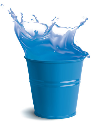 bucket of water: Bucket full of clear water with splashes. Isolated vector illustration