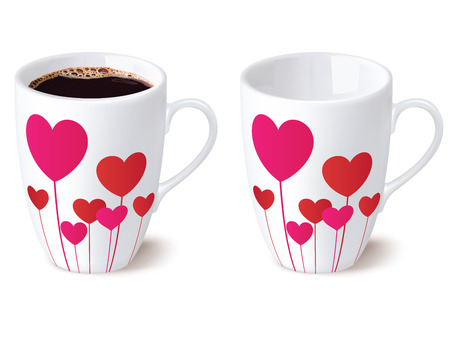 coffeecup: Coffee cup with hearts, isolated. Vector ilustration
