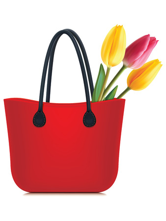 ilustration: Tulips in shopping bag isolated. Vector illustration