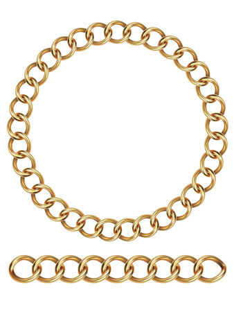 interlink: Gold chain, isolated. Vector illustration