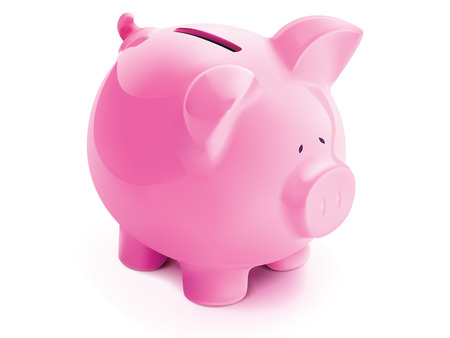 retirement savings: Pig bank, isolated. Vector illustration