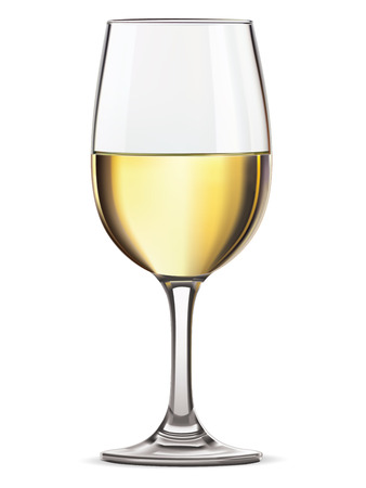 white wine: Glass of white wine, isolated illustration