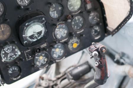 Plane cockpit, old aircraft interior