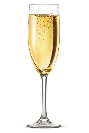 champagne: Glass of champagne isolated on white background. Vector illustration