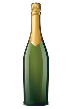 Champagne fles met gouden folie op wit wordt geïsoleerd. Vector illustratie
