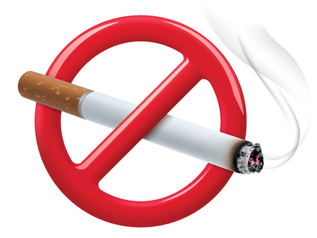 cigar shape: No smoking sign isolated on white. Vector illustration Illustration