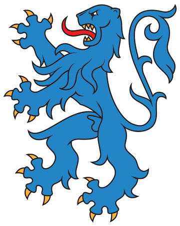 Heraldic lion, isolated. Vector illustration