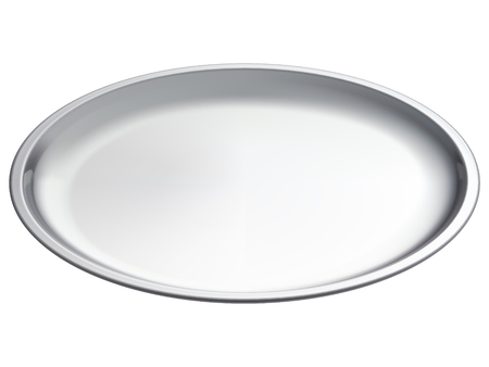 Silver empty tray, isolated. 3D illustration