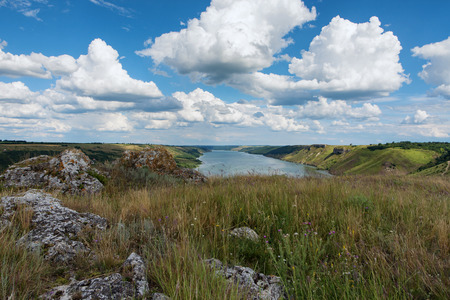 River canyon with green hills Stock Photo