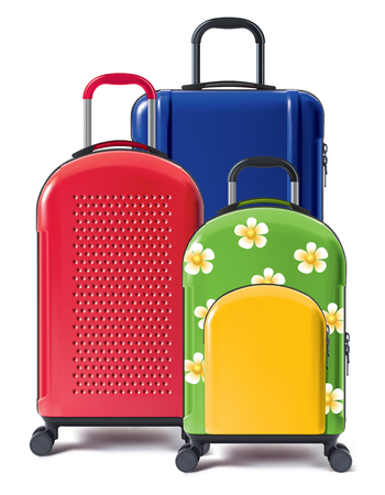 Set of bright wheeled suitcases. Valises for tourists. 3d illustration  写真素材