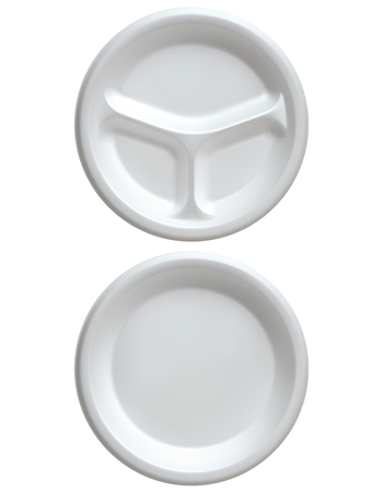 Disposable white plastic plate, isolated on white vector 3d illustration.