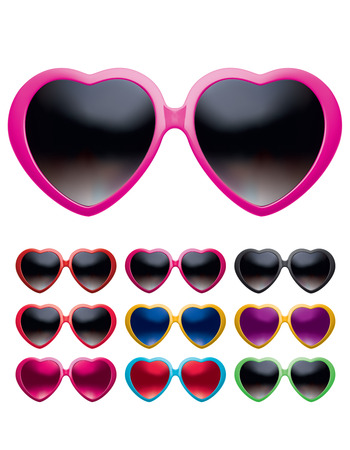 Eyeglasses heart shape set isolated. Vector realistic 3d illustration