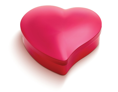 Heart shaped chocolate box. Vector 3d illustration