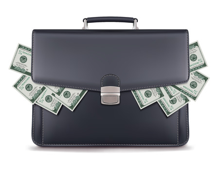 Dollar piles inside briefcase. Creative 3d illustration