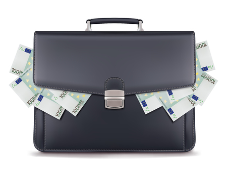 Euro piles inside briefcase. Creative 3d illustration Stock Photo
