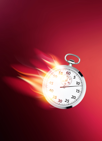 Flaming clock. Faster business concept. Realistic 3d illustration 스톡 콘텐츠