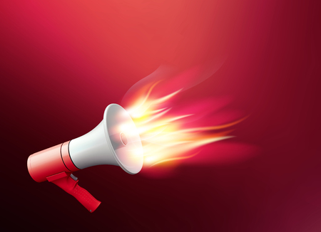 Megaphone with fire. Realistic 3d illustration