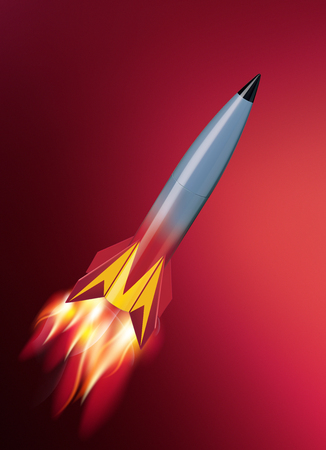 Rocket with fire. 3d illustration 스톡 콘텐츠