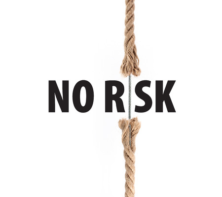 Rope with metal cable. No Risk. Insurance concept