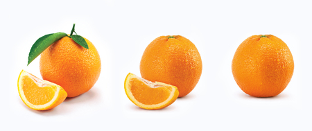 Orange with leaves and on white background.