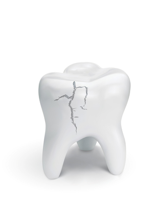 Cracked tooth on white background. 3d illustration