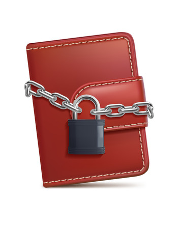 Leather wallet with padlock and chain on white isolated background. Concept of protecting money and safety personal finances. 3d illustration